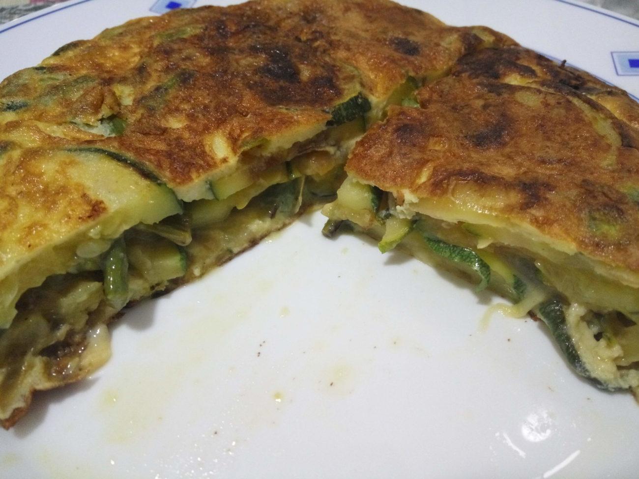 Tortilla de trigueros y calabacín