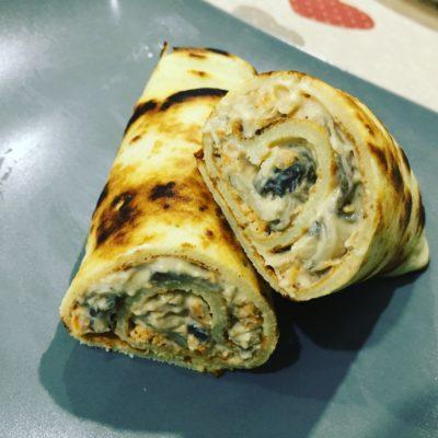 Crepes sin gluten de champiñones y pollo