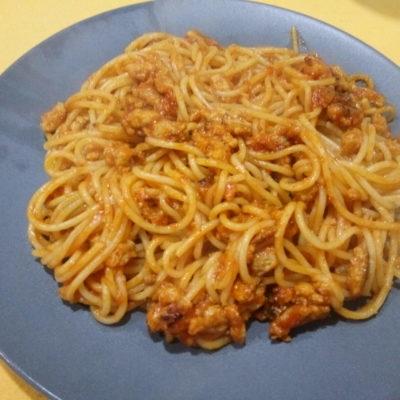 Espaguetis con soja texturizada