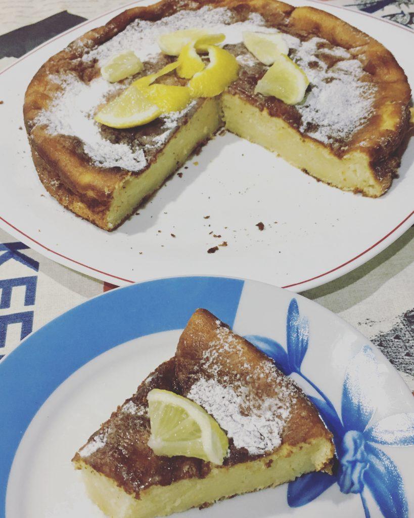 Tarta de queso al horno de limón sin gluten