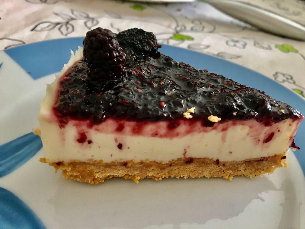 Cheesecake de moras sin gluten